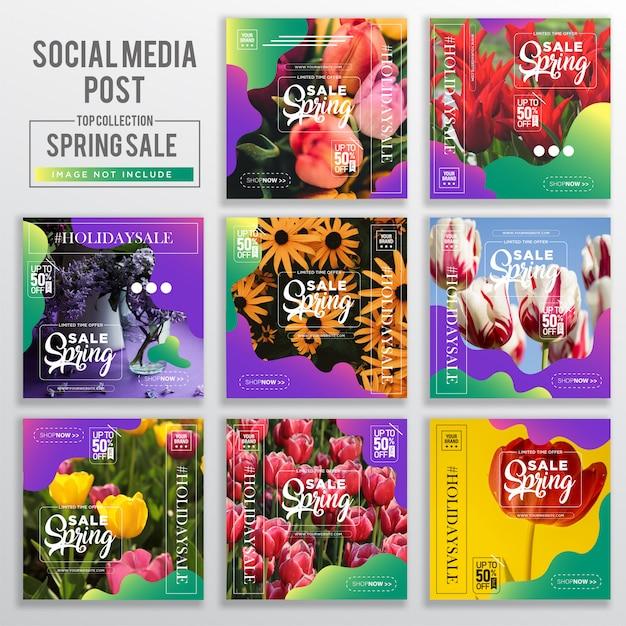 Coleção de social media post design template Vetor Premium