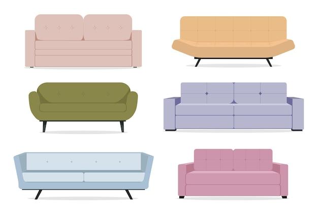 Coleção de sofás Vetor Premium