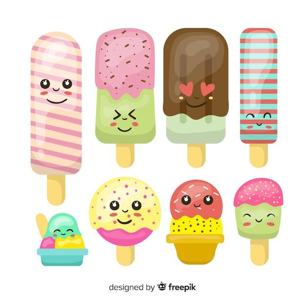 Coleção de sorvete kawaii Vetor grátis