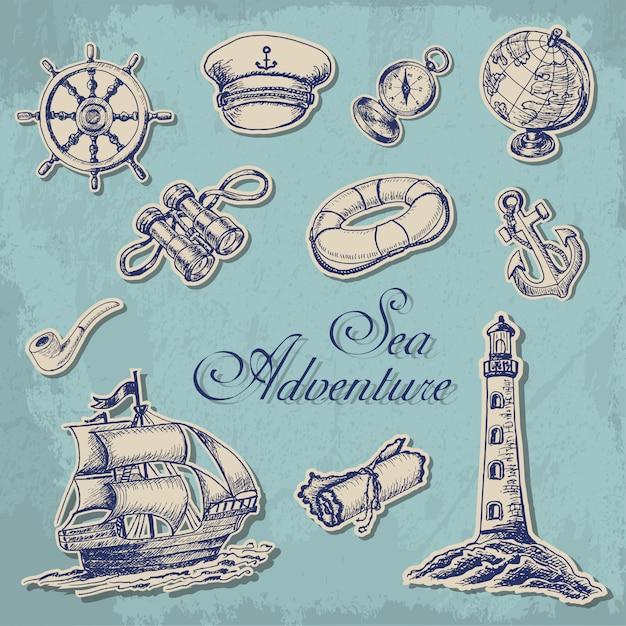 Coleção de stikers marinhos Vetor Premium