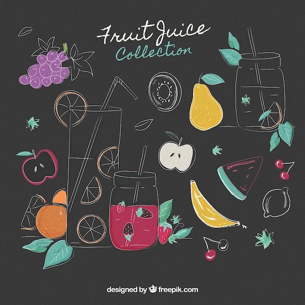 Coleção de sucos de frutas desenhados à mão Vetor grátis