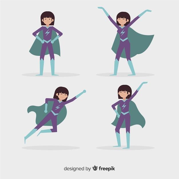 Coleção de super-herói feminino colorido com design plano Vetor grátis
