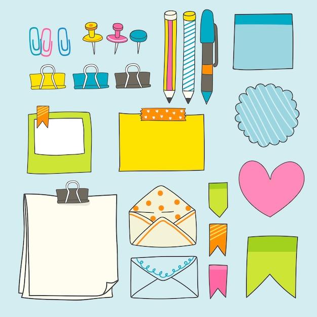 Coleção de suprimentos de papelaria colorida Vetor grátis
