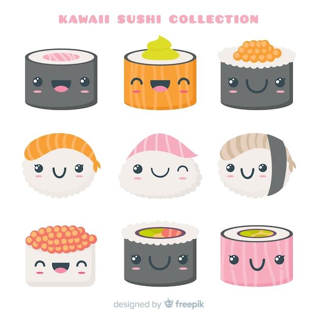 Coleção de sushi kawaii mão desenhada Vetor grátis