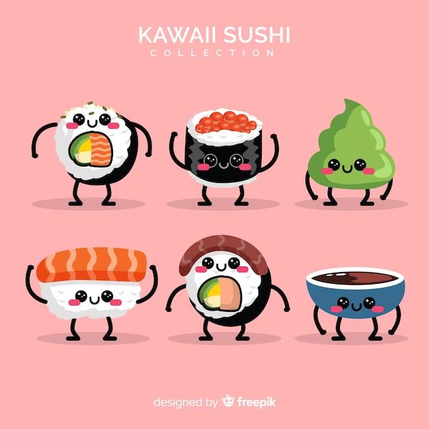 Coleção de sushi kawaii Vetor grátis