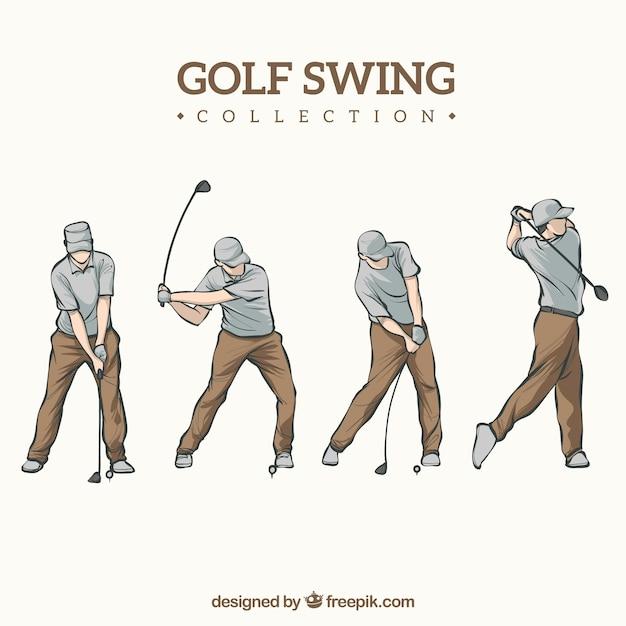 Coleção de swing de golfe desenhada a mão Vetor grátis
