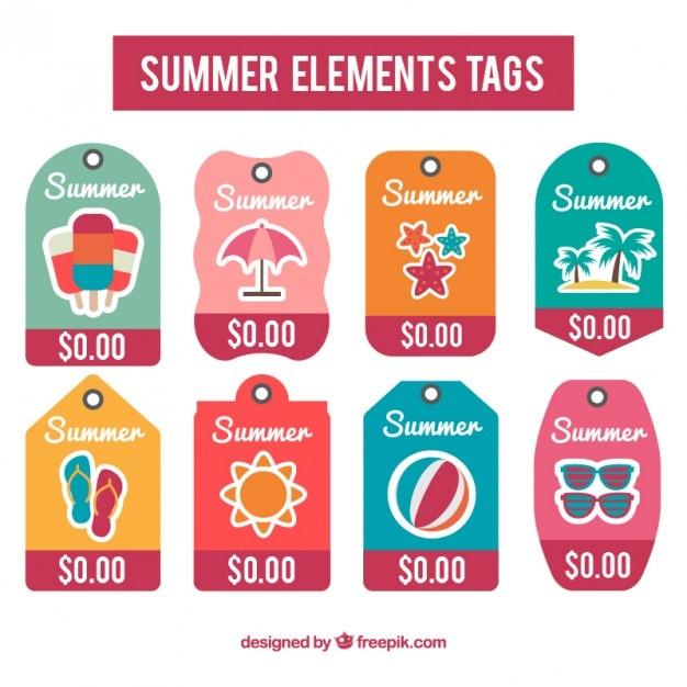 Coleção de tag verão Vetor grátis