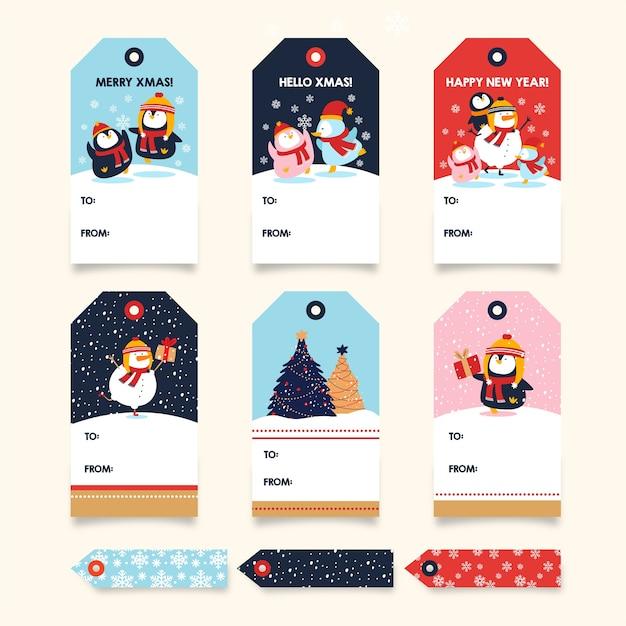 Coleção de tags chrismas penguin Vetor Premium