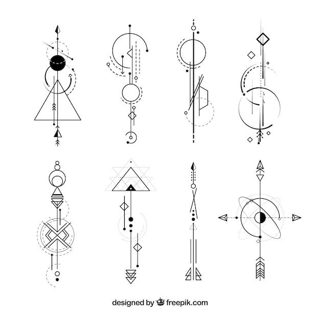 Coleção de tatuagens com formas abstratas Vetor Premium
