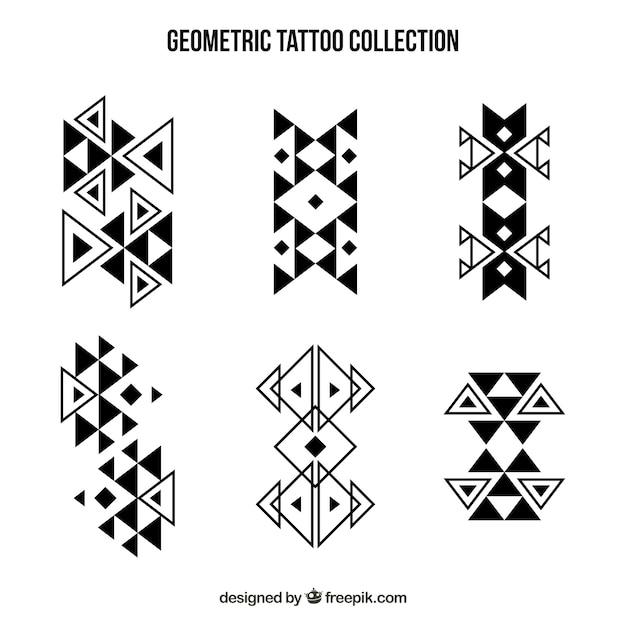 Coleção de tatuagens de formas geométricas abstratas Vetor grátis