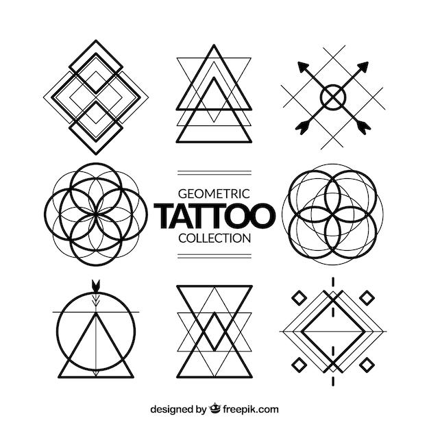 Coleção de tatuagens de símbolos geométricos Vetor grátis