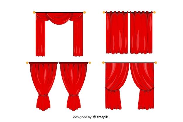 Coleção de teatro cortina vermelha plana Vetor grátis