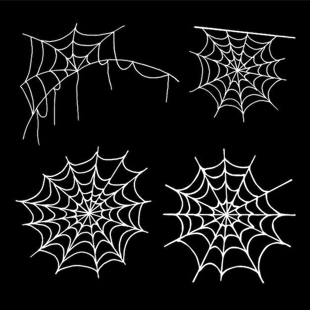 Coleção de teia de aranha, isolada no preto. conjunto de web de aranha de halloween. ícones de mão desenhada para decoração de halloween. linha arte no estilo de desenho. Vetor Premium