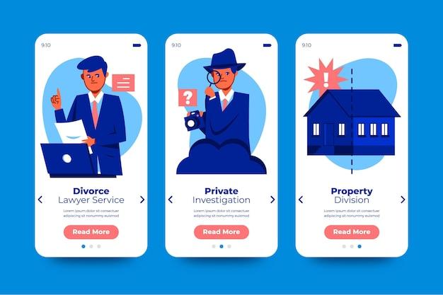 Coleção de telas de integração de mediação de divórcio Vetor grátis