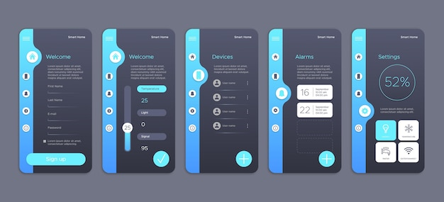 Coleção de telas para app de casa inteligente Vetor Premium