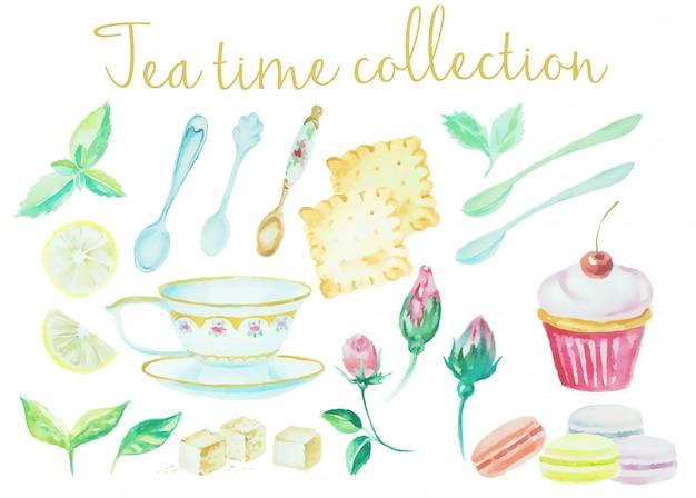 Coleção de tempo de chá aquarela vintage Vetor Premium