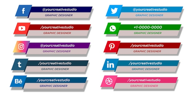 Coleção de terços inferiores das mídias sociais Vetor Premium