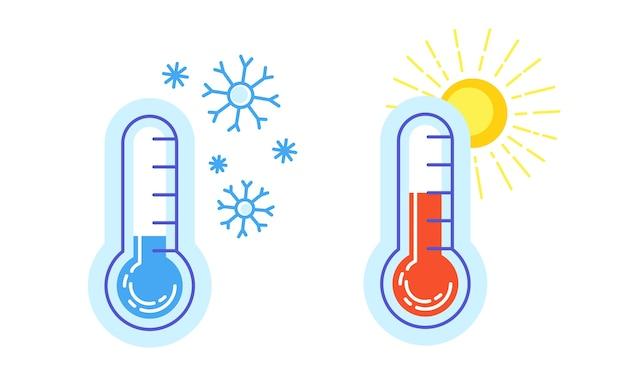 Coleção de termômetro de ícone quente e frio Vetor Premium