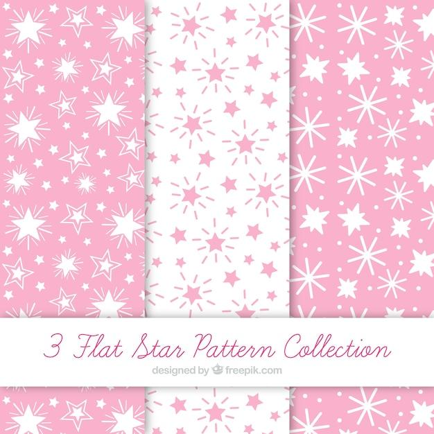 Coleção de testes padrões com estrelas brancas e rosa Vetor grátis