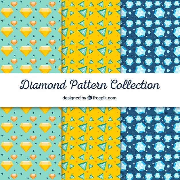Coleção de testes padrões decorativos de diamante Vetor grátis
