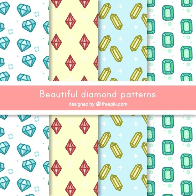 Coleção de testes padrões diamantes desenhados à mão Vetor grátis
