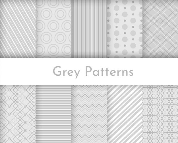 Coleção de texturas listradas sem costura - luz - design cinza. padrões geométricos. Vetor Premium