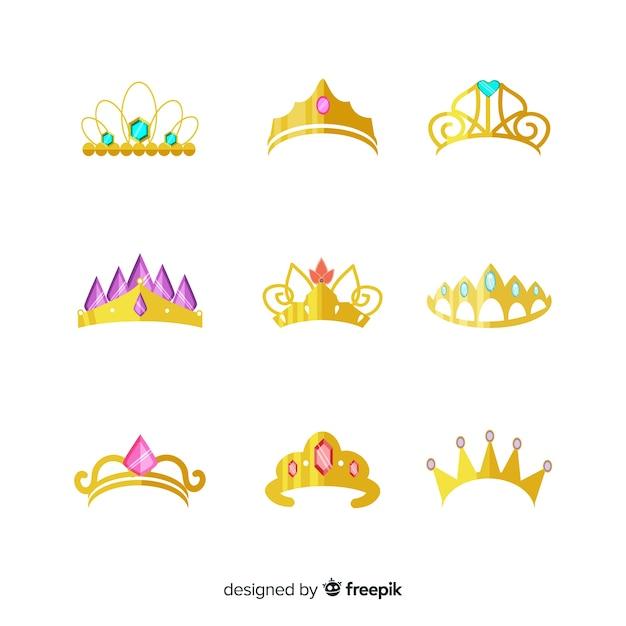 Coleção de tiara princesa plana dourada Vetor grátis