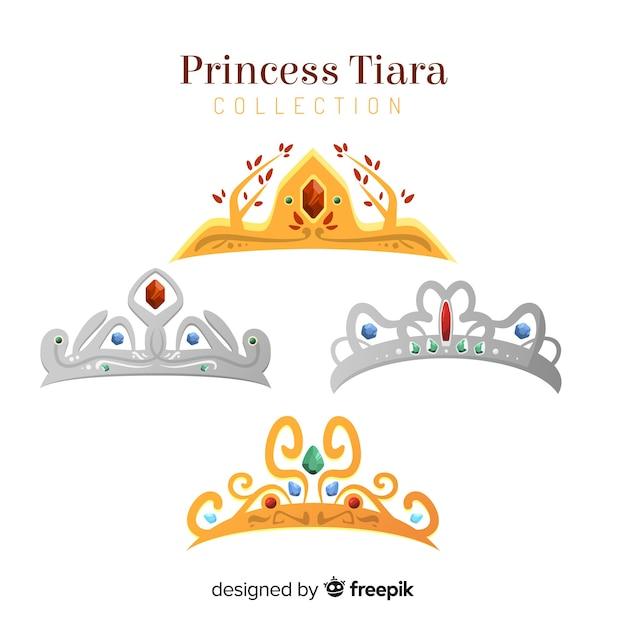Coleção de tiara princesa plana Vetor grátis