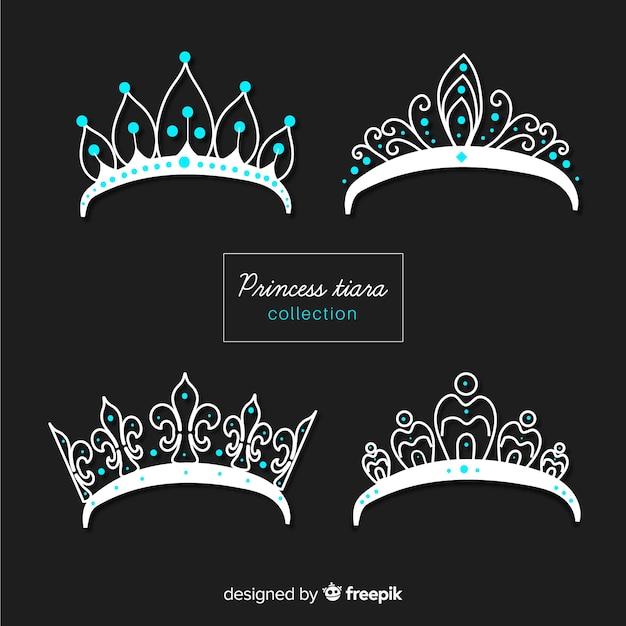 Coleção de tiara princesa prata Vetor grátis