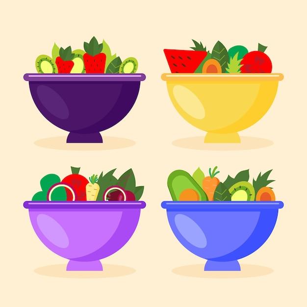 Coleção de tigelas de frutas e saladas Vetor grátis