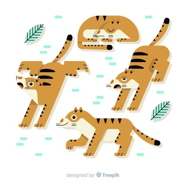 Coleção de tigre bonito mão desenhada Vetor grátis
