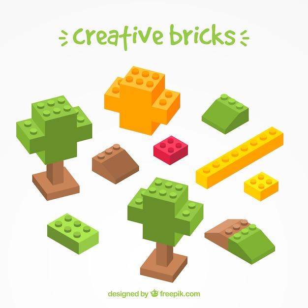 Coleção de tijolos criativos Vetor grátis