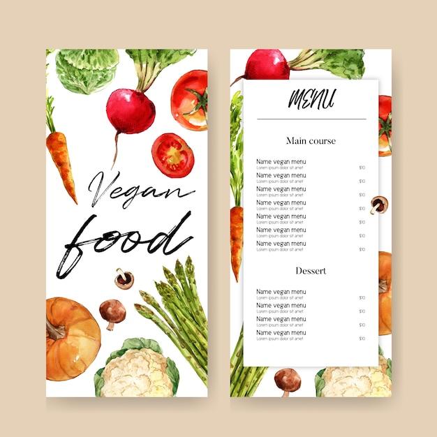 Coleção de tinta aquarela vegetal. alimentos frescos menu orgânico saudável ilustração Vetor grátis