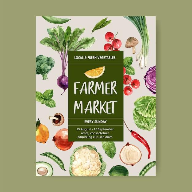 Coleção de tinta aquarela vegetal. comida saudável cartaz orgânico flyer ilustração saudável Vetor grátis