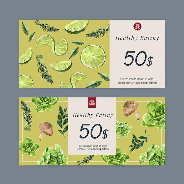 Coleção de tinta aquarela vegetal vale-presente. ilustração saudável orgânica de alimentos frescos Vetor grátis