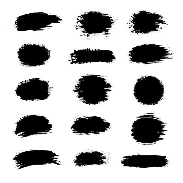 Coleção de tinta preta, pinceladas de tinta, pincéis, linhas, grungy. Vetor Premium