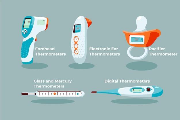 Coleção de tipos de termômetros de design plano Vetor Premium