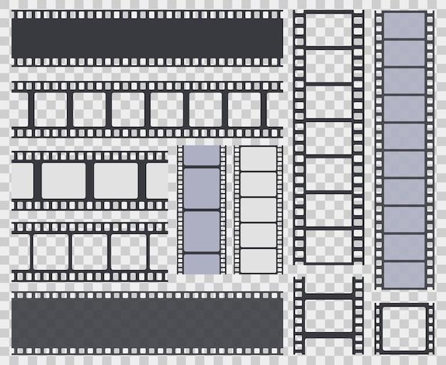Coleção de tira de filme isolada em fundo transparente Vetor Premium