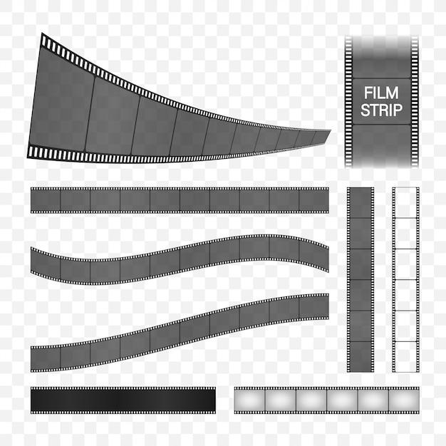 Coleção de tiras de filme. moldura de cinema. tira de filme retrô, ótimo design para qualquer finalidade. ilustração das ações. Vetor Premium
