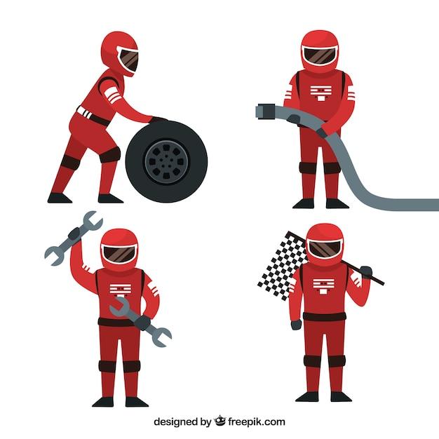 Coleção de trabalhadores de pit stop Vetor grátis
