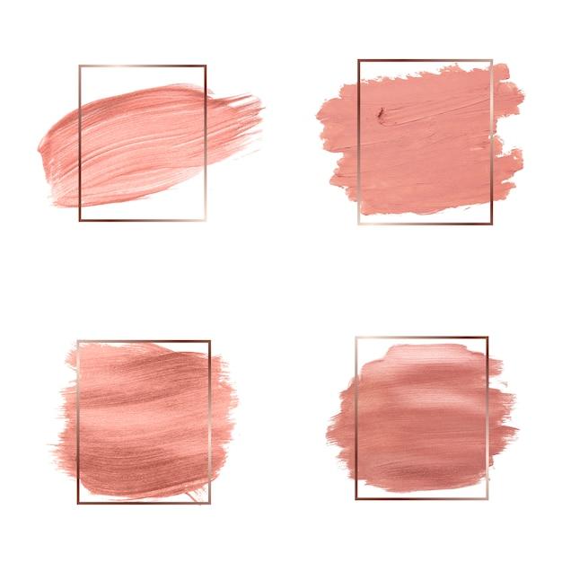Coleção de traços de pincel rosa Vetor grátis