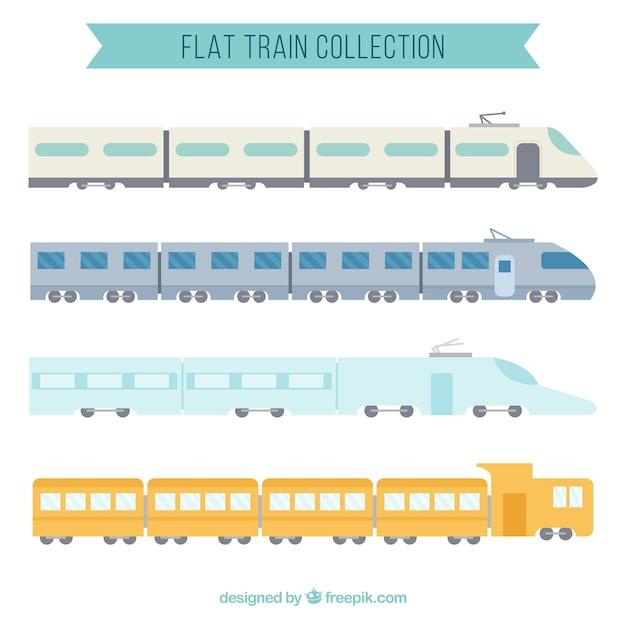 Coleção de trem plano Vetor grátis