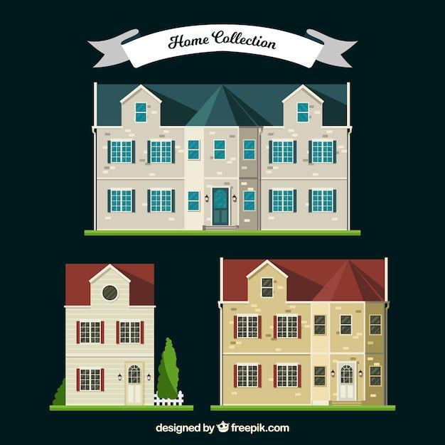 Coleção de três luxuosas mansões Vetor grátis