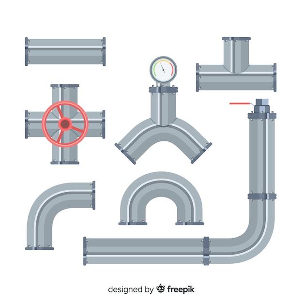 Coleção de tubos de metal de design plano com alavanca Vetor grátis