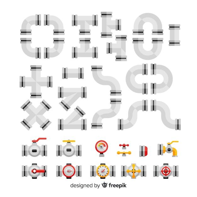 Coleção de tubulações metálicas de design plano Vetor grátis