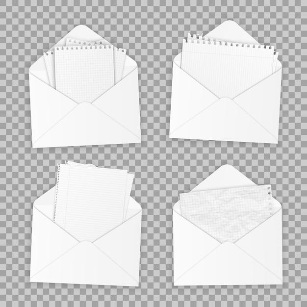 Coleção de vários white papers realistas. Vetor Premium