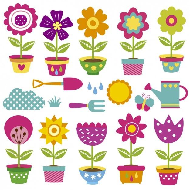 Colecao De Vasos De Flores Vetor Gratis