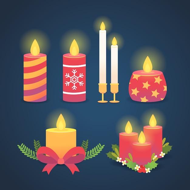 Coleção de velas de natal de design plano Vetor grátis