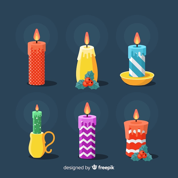 Coleção de velas de natal Vetor grátis