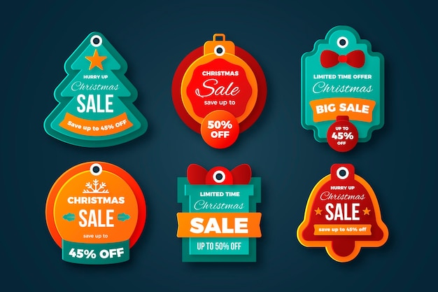 Coleção de venda de etiquetas de natal Vetor grátis